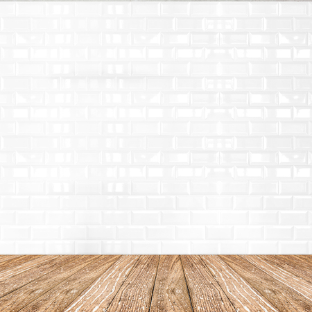 Photo pour Room perspective,white ceramic tile wall and wooden ground, Mock up template for display of product. - image libre de droit