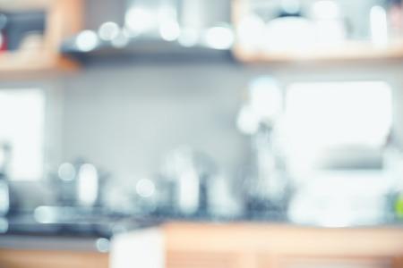 Foto de Blurred background,Modern kitchen with bokeh light, vintage filter. - Imagen libre de derechos
