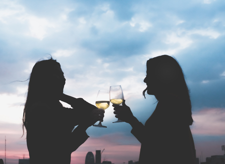Photo pour silhouette two asia lesbian lgbt couple toast champagne glass at rooftop party in sunset evening time,love wins,enjoy and cheerful lifestyle,birthday or anniversary party concept. - image libre de droit