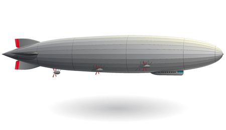 Illustration pour Legendary huge zeppelin airship filled with hydrogen. Stylized flying balloon. Big dirigible with propellers and rudder. Long zeppelin, white background, rigid airship. Isolated vector illustration. - image libre de droit