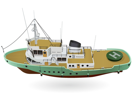 Ilustración de Research vessel, marine exploration boat for scientists. Rescue vessel with sonar, new modern motorboat for discovering water. Vector illustration, isolated on white background - Imagen libre de derechos