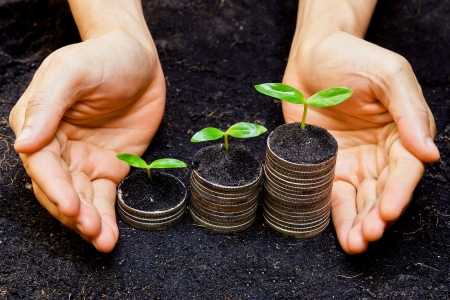 Foto de hands holding tress growing on coins   csr   sustainable development   economic growth - Imagen libre de derechos
