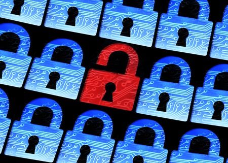 Foto de computer security - Hacked symbol of open red padlock surrounded by blur blue padlocks - Imagen libre de derechos