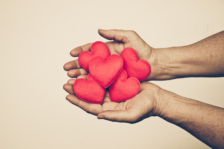 Photo for hand of the elderly female holding red hearts - Royalty Free Image