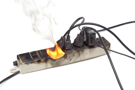 Photo pour Surge protector caught on fire due to overheat - image libre de droit