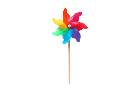 Foto de Toy windmill propeller set with multicolored blades isolated on white - Imagen libre de derechos