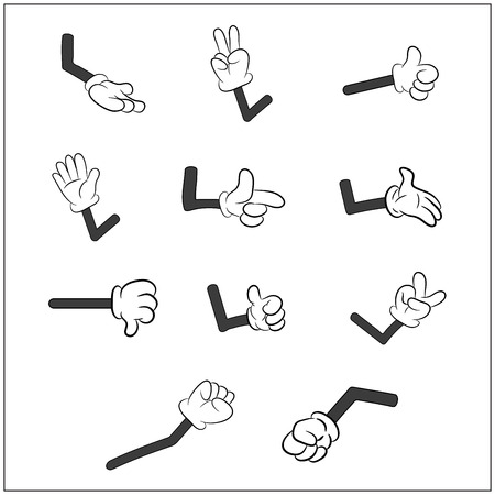 Illustrazione per Image of cartoon human gloves hand with arm gesture set. Vector illustration isolated on white background. - Immagini Royalty Free