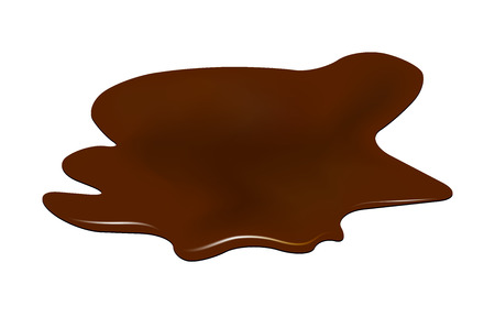 Ilustración de Puddle of chocolate, mud spill clipart. Brown stain, plash, drop. Vector illustration isolated on the white background - Imagen libre de derechos