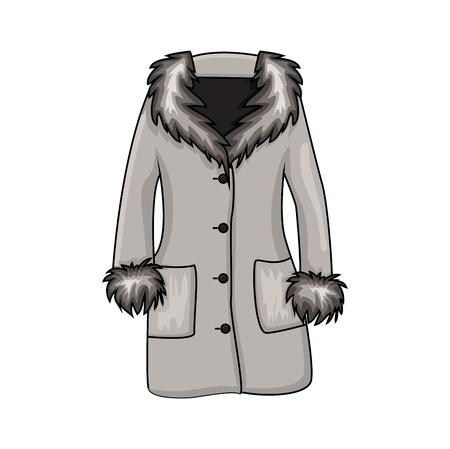 Illustrazione per Cartoon fur winter coat isolated on white background  - Immagini Royalty Free