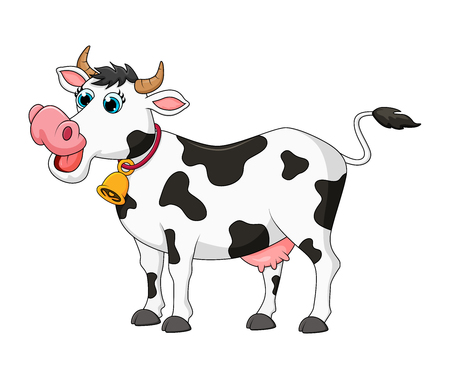 Ilustración de cartoon female cow cute design isolated on white background - Imagen libre de derechos