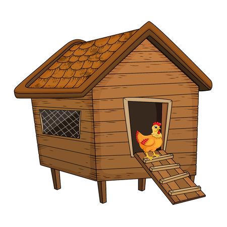 Ilustración de cartoon chicken coop and hen isolated on white background - Imagen libre de derechos