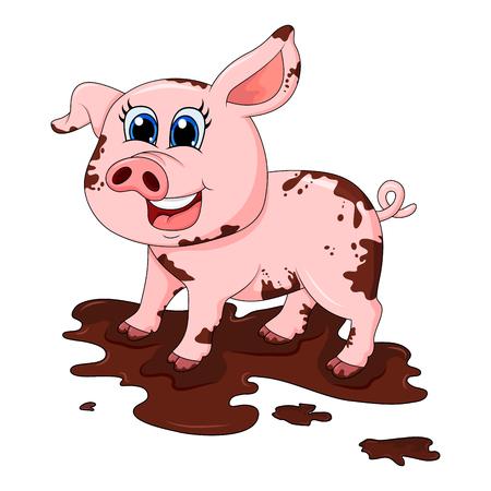 Ilustración de dirty pig in mud cartoon character vector design isolated on white background - Imagen libre de derechos