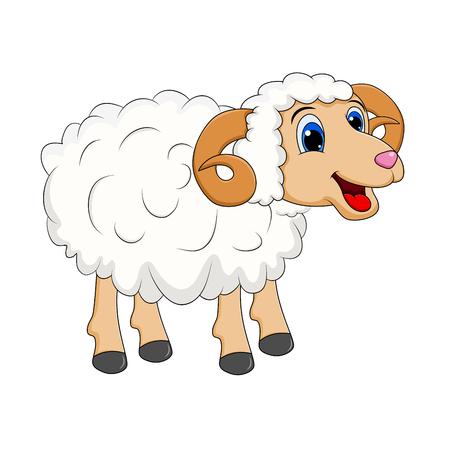 Ilustración de cartoon white ram design isolated on white background - Imagen libre de derechos