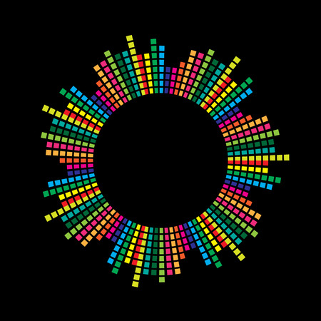 Ilustración de circle mosaic equalizer  design isolated on black background - Imagen libre de derechos