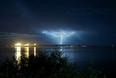Lightnings in Port Angeles, Washington. Pacific Ocean / Salish Sea. Night Storms and Large Commercial Ship. Severe Weather Photography Collection.