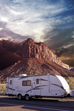 Photo for RV in Canyonlands, Utah, USA. Recreation Vehicle - Travel Trailer in Moab, Utah. Recreation Photo Collection. - Royalty Free Image