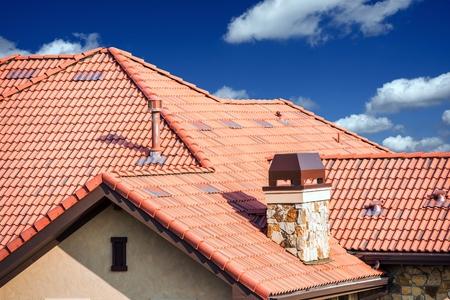 Foto de House Slates Roof. Roofing Works. Modern House Roof Closeup. - Imagen libre de derechos