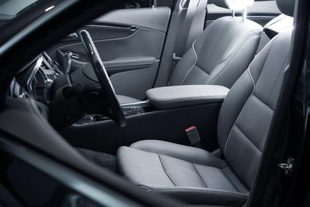 Photo pour Car Interior Driver Side View. Modern Car Interior Design. - image libre de droit