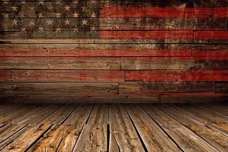 Photo for Wooden American Vintage Stage Background. Stage with Painted Aged American Flag Paint. - Royalty Free Image