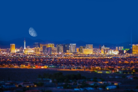 Photo pour Las Vegas Strip and the Moon. Las Vegas Panorama at Night. Nevada, United States. - image libre de droit