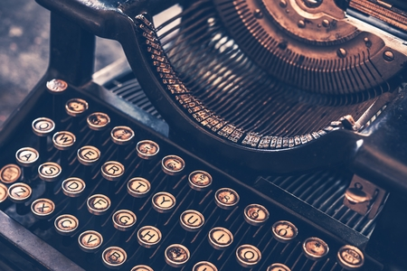 Photo for Vintage Typewriter Machine Closeup Photo. - Royalty Free Image