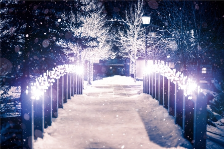 Foto de Park Bridge Holiday Illumination in Winter Season. Estes Park, Colorado. - Imagen libre de derechos