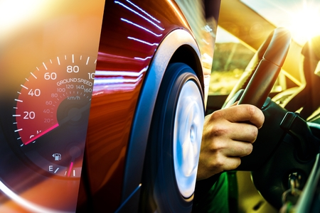 Photo pour Modern Transportation Concept. Car and Driver. Driving Photo Mosaic. - image libre de droit