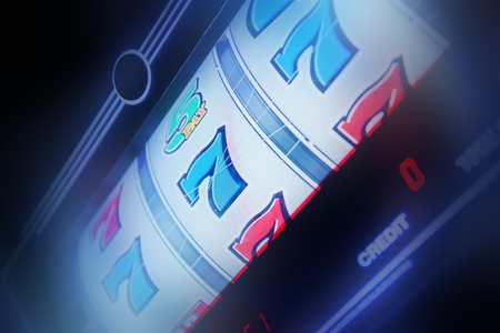 Foto de Slot Machine Spin Concept Photo. Slot Machine Closeup. Casino Theme. - Imagen libre de derechos