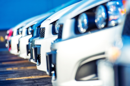 Foto de Dealer Cars For Sale. Car Selling Market. Cars Marketplace - Imagen libre de derechos