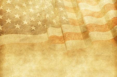Photo pour Vintage American Background with Canvas American Flag. - image libre de droit