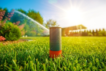 Photo for Lawn Sprinkler in Action. Garden Sprinkler Watering Grass. Automatic Sprinklers. - Royalty Free Image