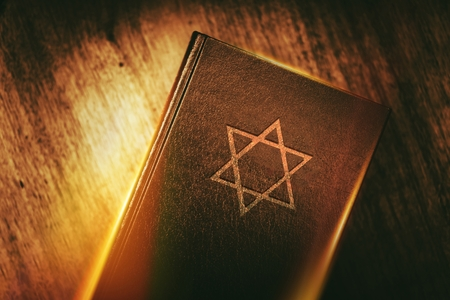 Photo for Ancient Prayer Book with Judaism Star of David Symbol on Cover. - Royalty Free Image