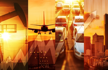 Foto de Powerful Economy Concept Collage. Oil and Gas Market, Transportation and the Large City with Skyscrapers. Global Energy and Economy Conceptual Collage. - Imagen libre de derechos