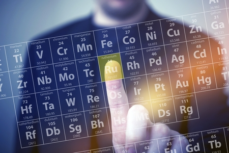 Photo pour Periodic Table Elements Touch. Periodic Table Chemical Concept with Men Touching Some Element by His Finger. Chemistry Touch Screen - image libre de droit