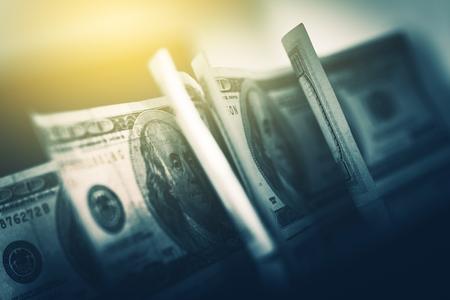 Foto de USD American Dollars in Focus. One Hundred American Dollars Banknotes Closeup Photo. - Imagen libre de derechos