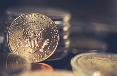 Photo pour Collectible Half Dollar Coin Closeup Photo. Collecting Coins. - image libre de droit