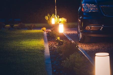 Photo for House Driveway Illumination. Elegant Front Yard Illumination. - Royalty Free Image