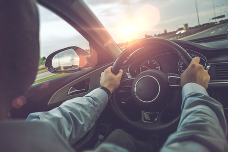 Photo for Highway Car Driving. Caucasian Men Behind the Wheel on His Road Trip. - Royalty Free Image
