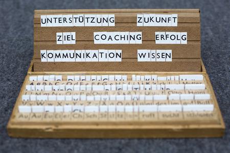 a letterbox with the german words:Unterstützung Zukunft Ziel Coaching Erfolg Kommunikation Wissen