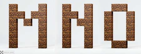 Foto de Letters M, N, The pixel block. The concept of modern pixel games. Alphabet of kids 3d render, path save. - Imagen libre de derechos