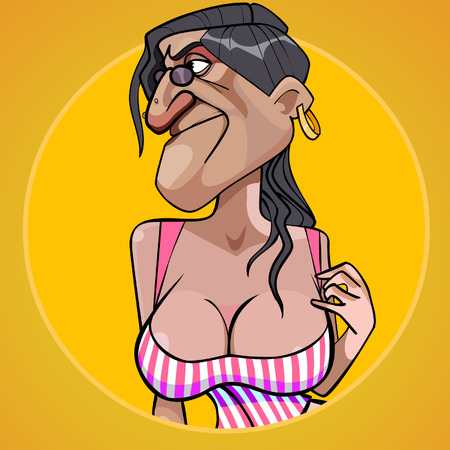 Illustration pour Cartoon scary woman with lush shapes of the chest seducing - image libre de droit