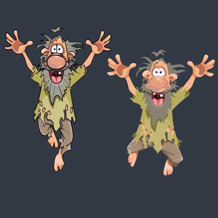 Illustration pour Cartoon funny man in ragged clothes jumping in different poses. - image libre de droit