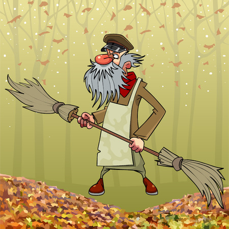 Illustration pour Cartoon bearded old janitor with double sided broom in autumn park - image libre de droit