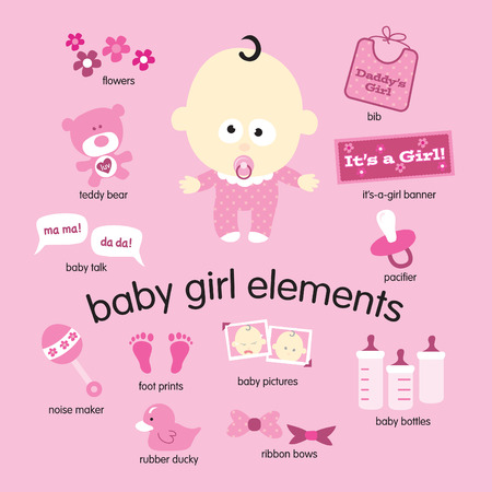 Various vector drawings of baby girl items