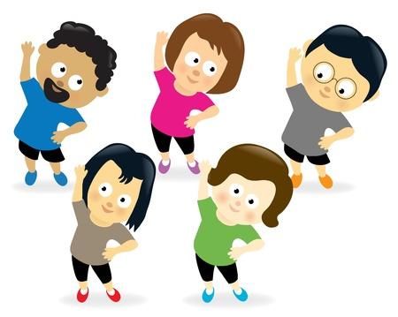 Ilustración de Adults exercising  - Imagen libre de derechos