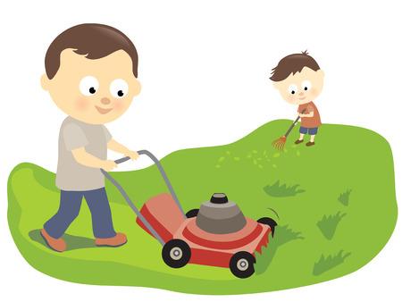 Illustration pour Father and son mowing and raking - image libre de droit