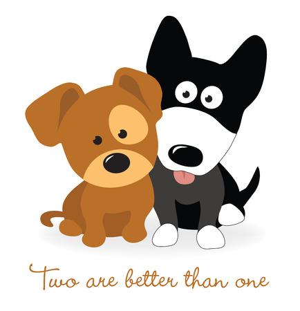 Ilustración de Best friends - two puppies - Imagen libre de derechos