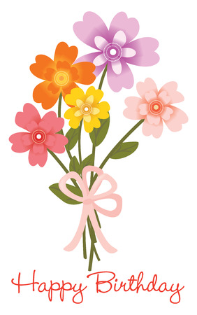 Illustration for Happy Birthday flower bouquet - Royalty Free Image