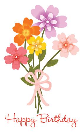 Ilustración de Happy Birthday flower bouquet - Imagen libre de derechos
