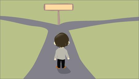 Illustration pour Person facing a two-way road - image libre de droit